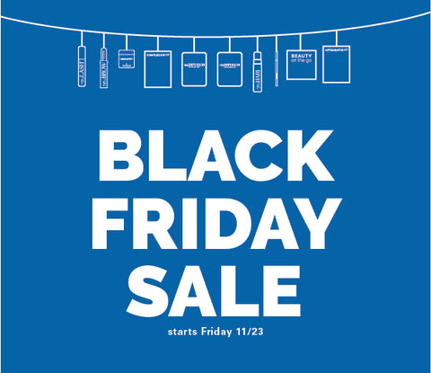 Black Friday Sale Words on blue background with products hanging as if they were holiday lights.