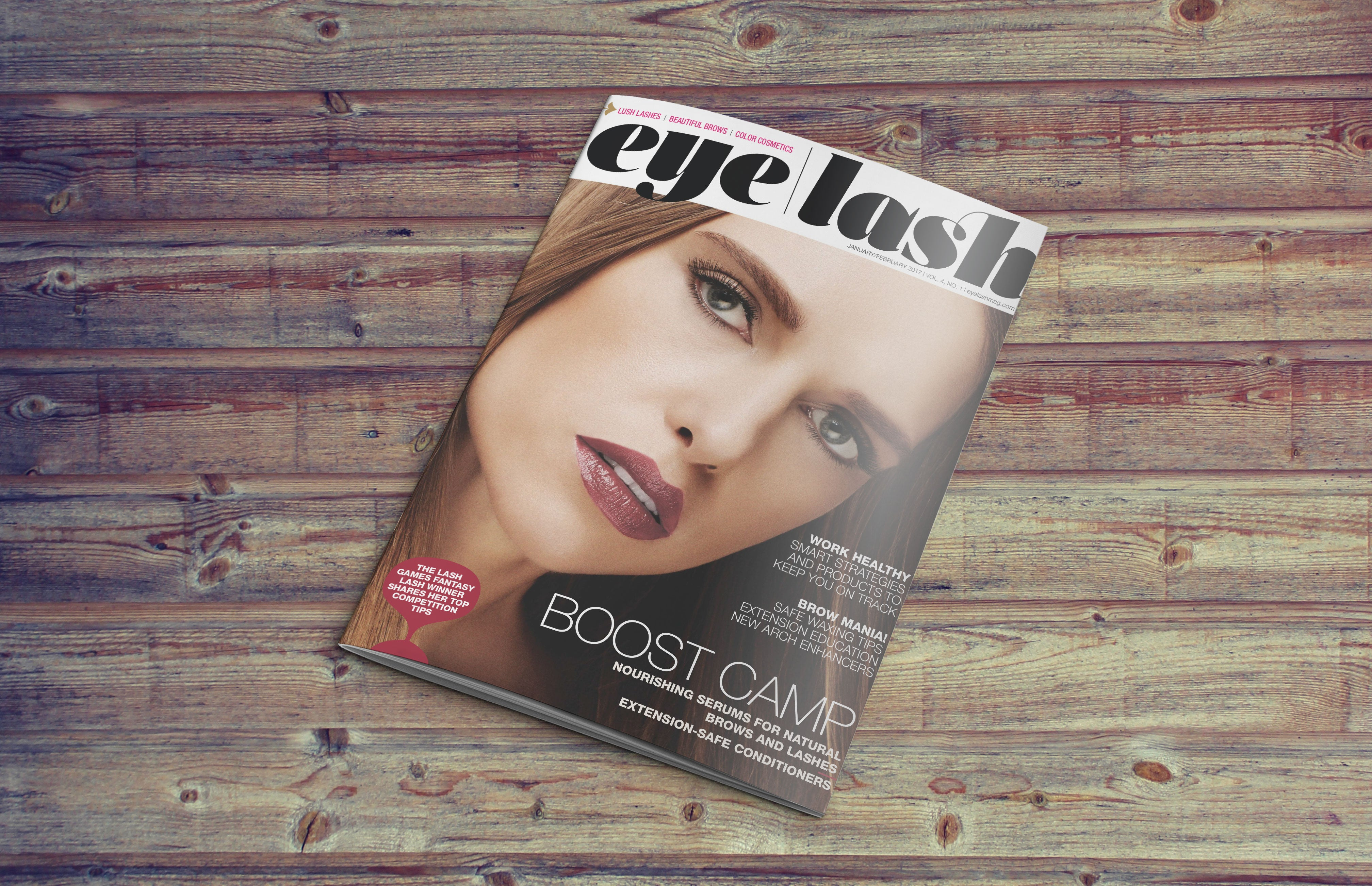 Eylash Magazine on wooden table