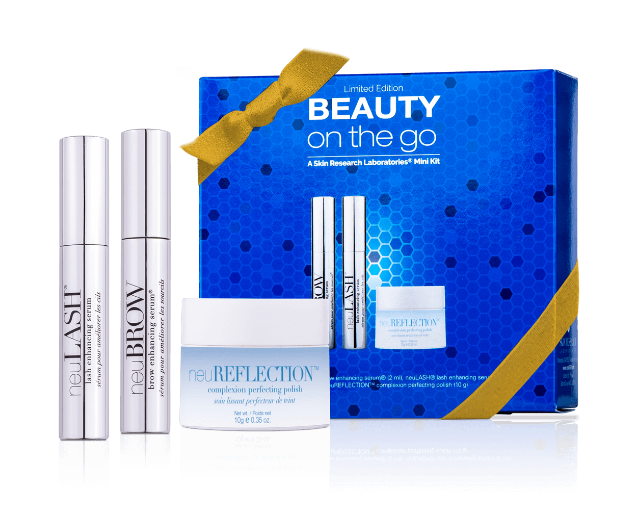 beauty on the go with the contents next to it