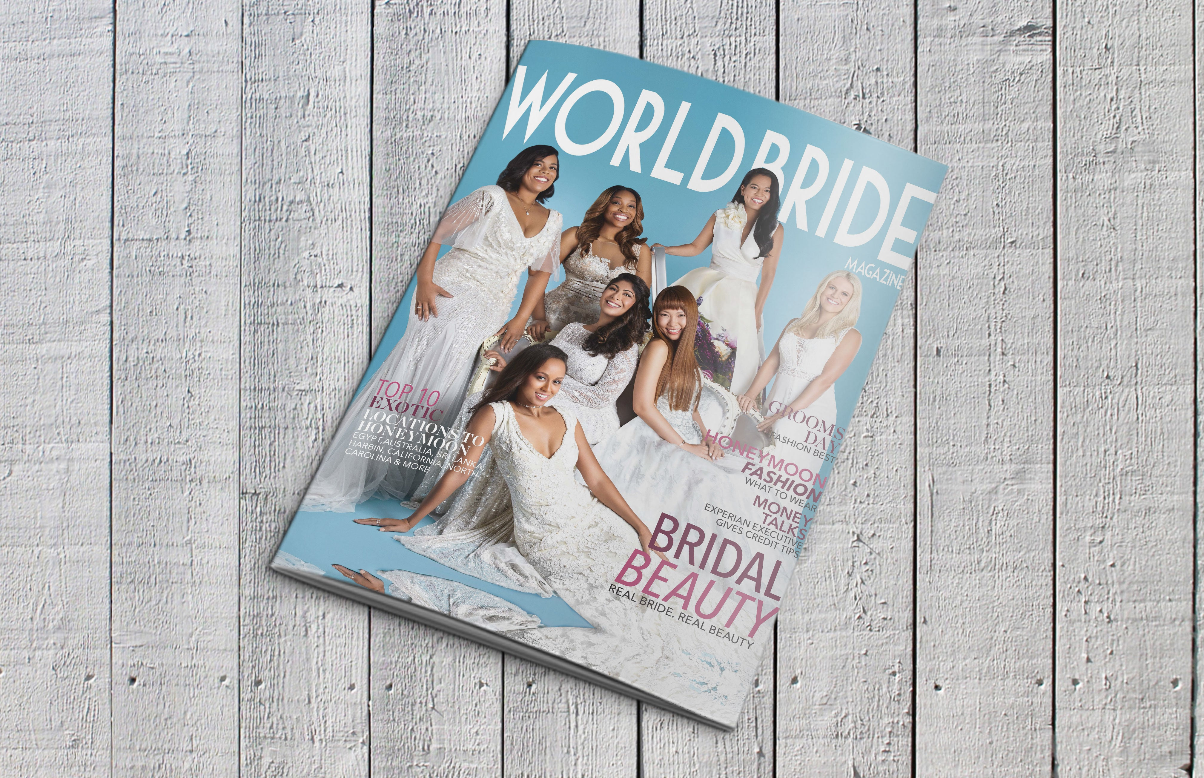 World Bride magazine on wooden table top