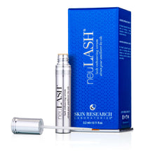 neuLASH® lash enhancing serum component standing next to its blue container box.