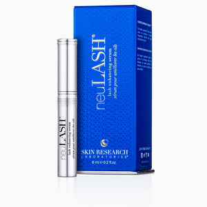neuLASH® lash enhancing serum packaging with main component sitting next to blue box.