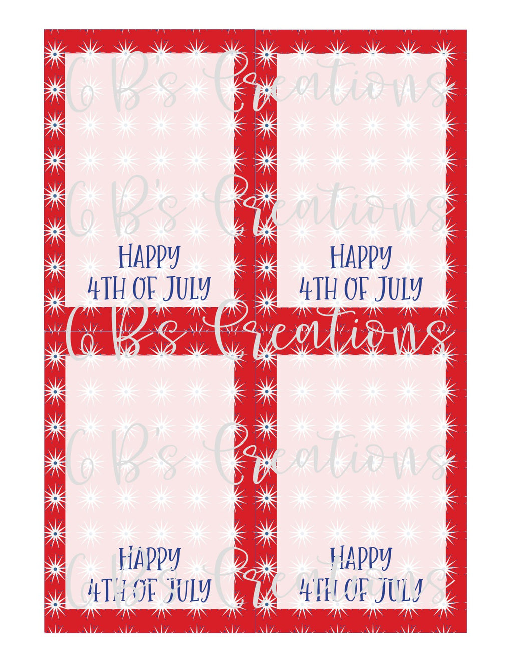 4th of July (Happy 4th of July) Printable Cookie Card