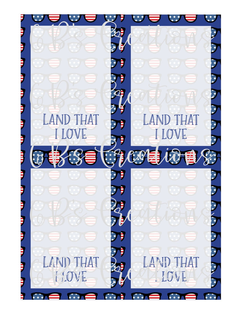 4th of July (Land that I love) Printable Cookie Card