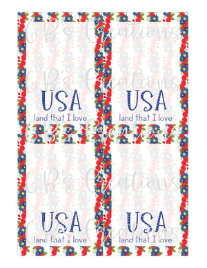 4th of July (Land that I love-floral) Printable Cookie Card