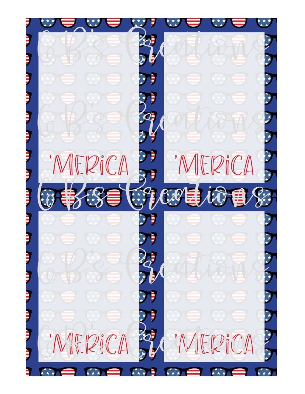 4th of July ('Merica) Printable Cookie Card