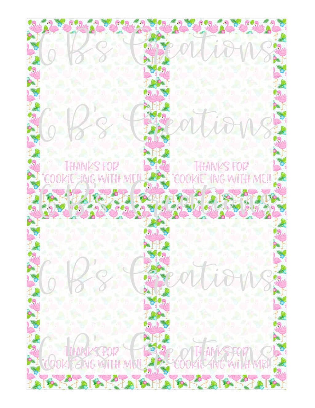"Thank you for ""cookie""-ing with me Printable Tag - Flamingo"