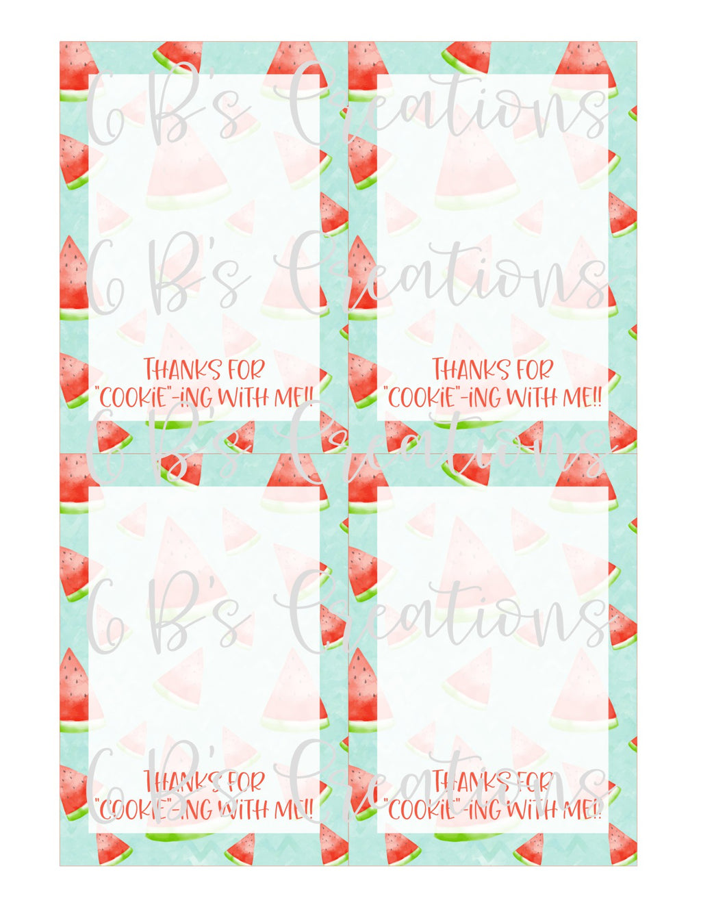 "Thank you for ""cookie""-ing with me Printable Tag - Watermelon"