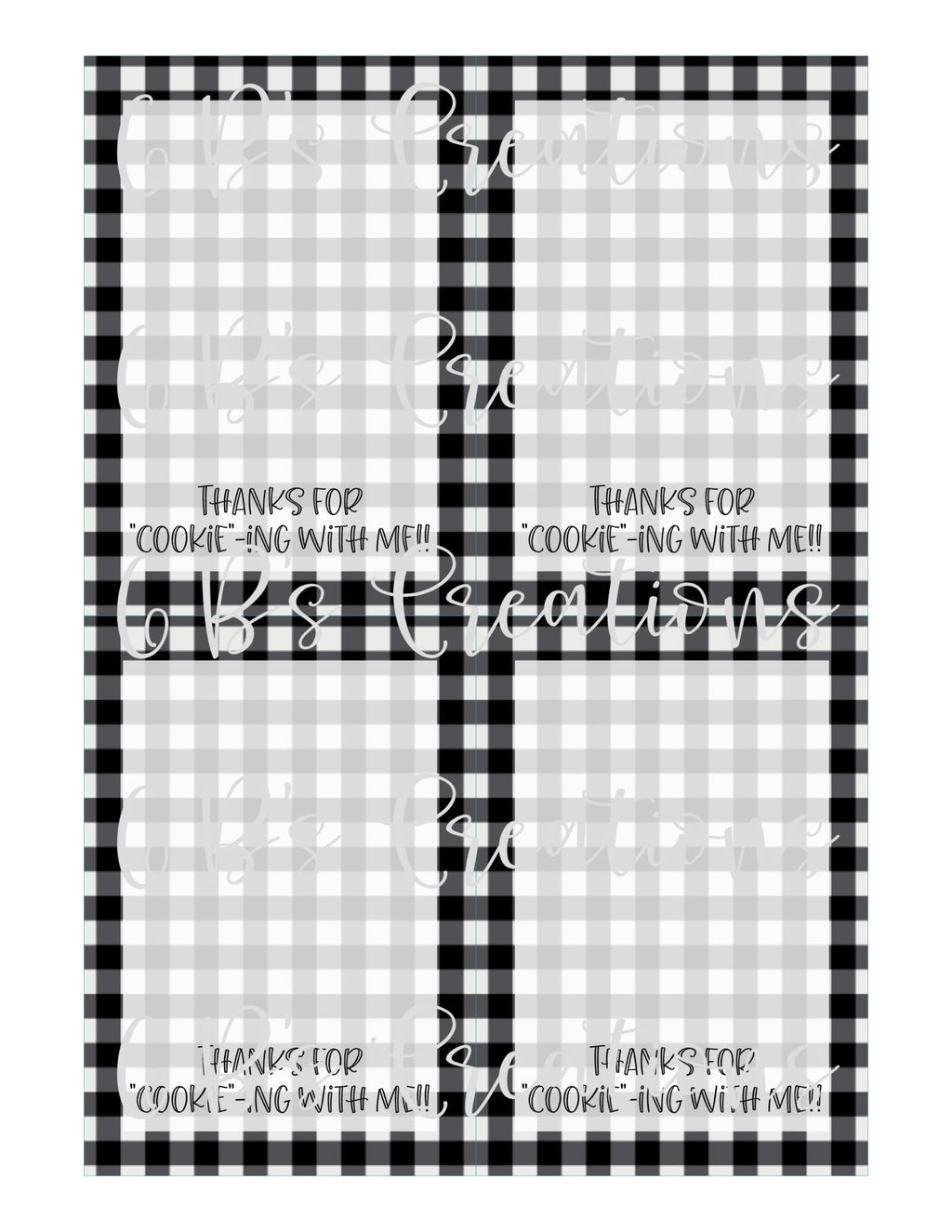 "Thank you for ""cookie""-ing with me Printable Tag - Black and White Gingham"