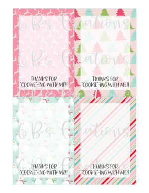 "Thank you for ""cookie""-ing with me Printable Tag - Color Assorted Christmas"