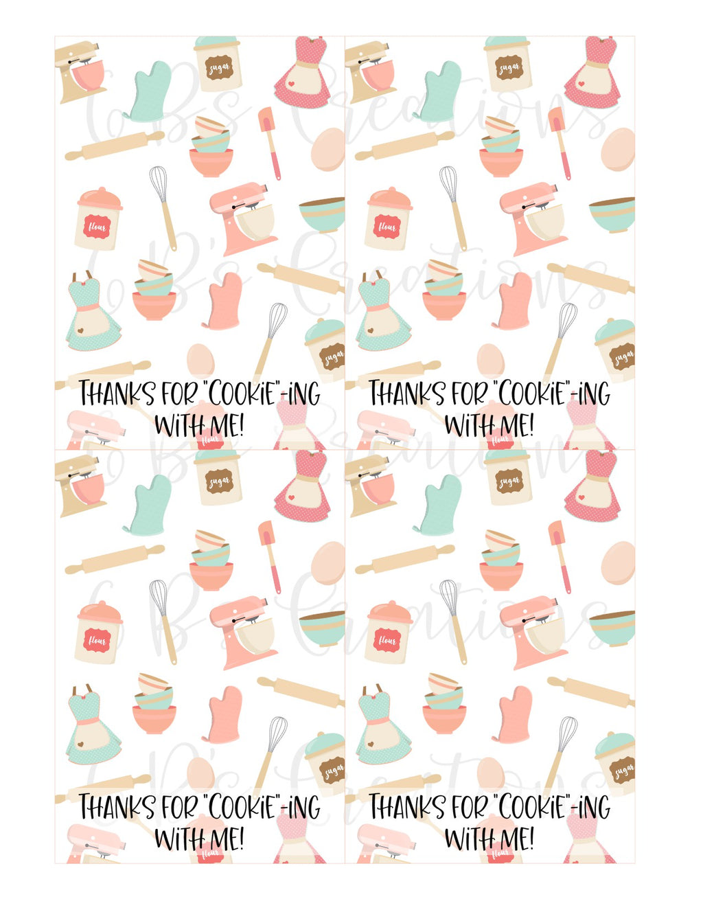 "Thank you for ""cookie""-ing with me Printable Tag - Generic Baking"