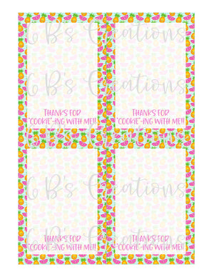 "Thank you for ""cookie""-ing with me Printable Tag - Pineapple and Watermelon"