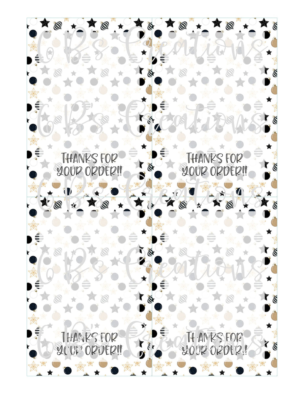 Thanks for your order Printable Tag - Black and Gold Stars