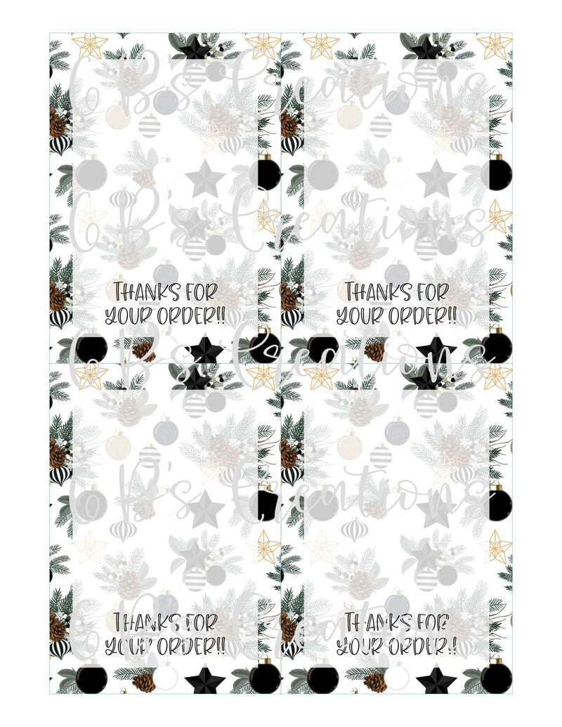 Thanks for your order Printable Tag - Black and White Christmas