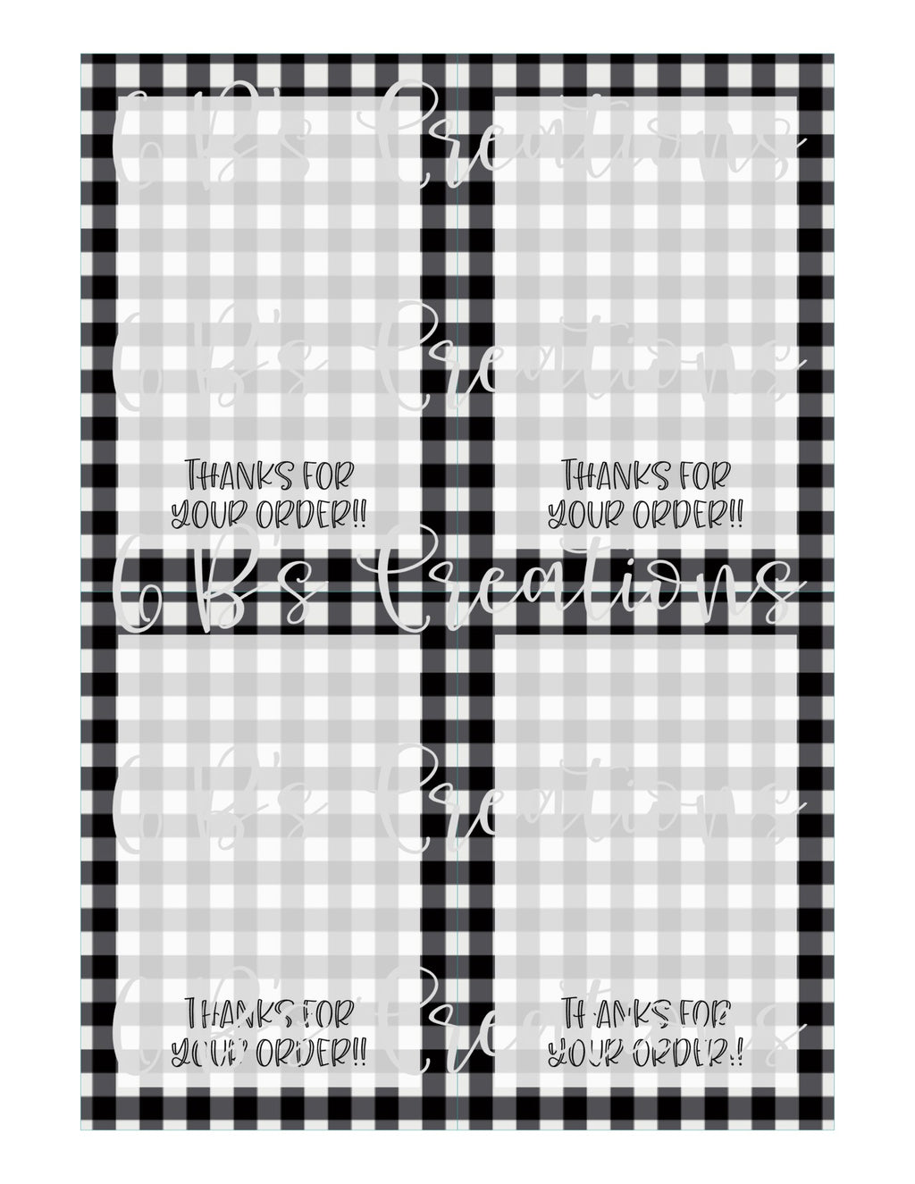 Thanks for your order Printable Tag - Black and White Gingham