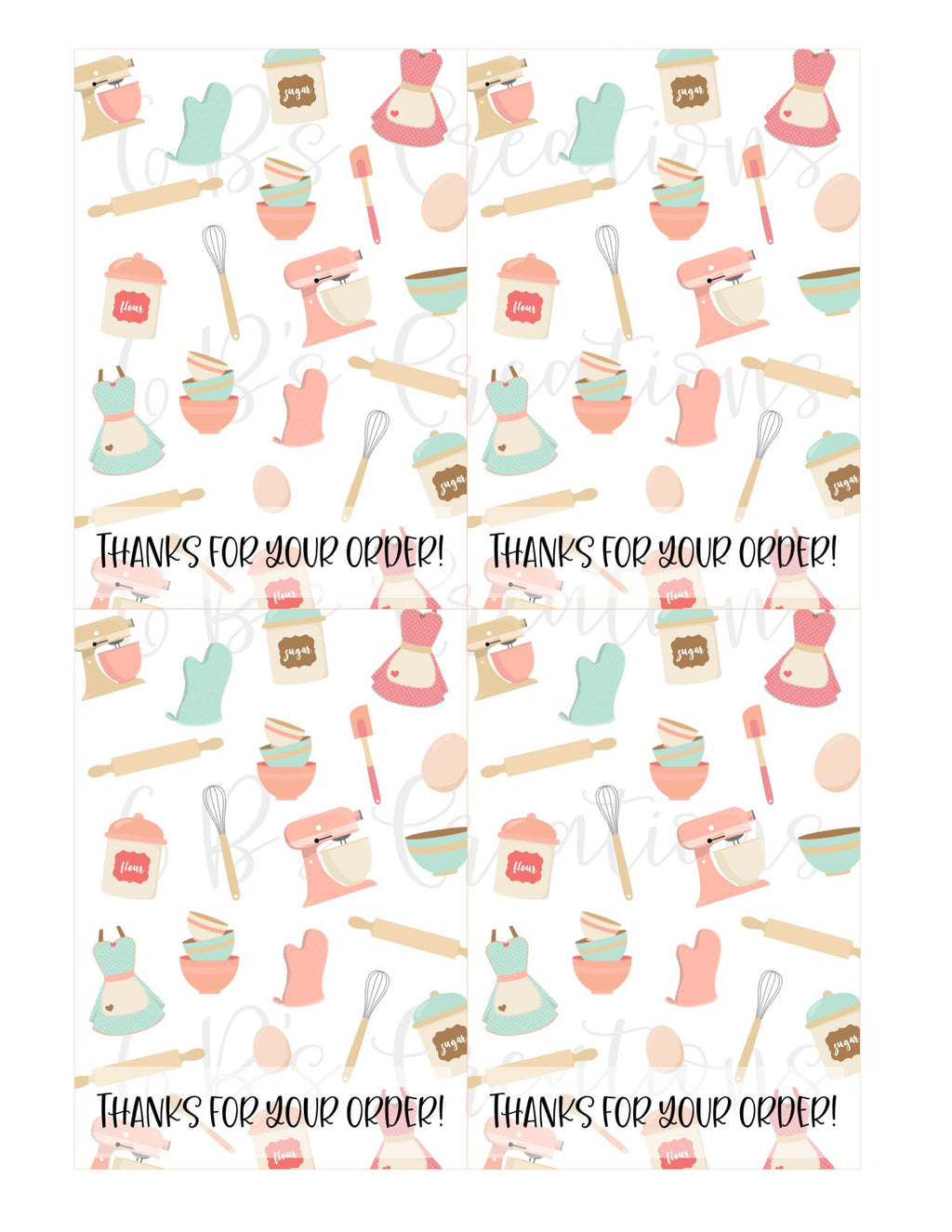 Thanks for your order Printable Tag - Generic Baking