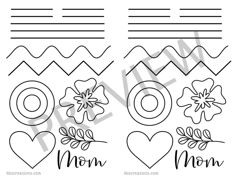 Mother's Day Piping Practice Half Sheet