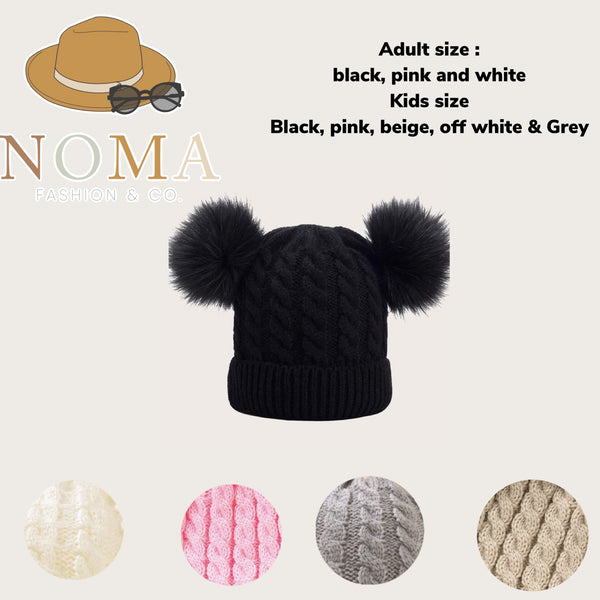 Double Pom Beanies adults & kids
