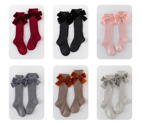 Large Velvet Bow Socks