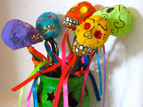 Day of the Dead Maraca Skulls