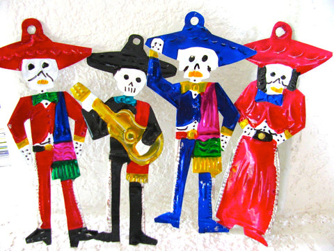 Day of the Dead Mariachi Tin Ornaments