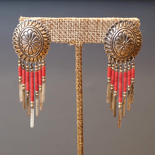 Coral Dreamcatcher Earrings
