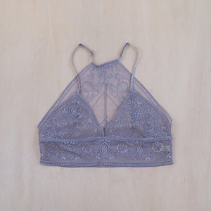 Gray Chantilly Lace Bralette