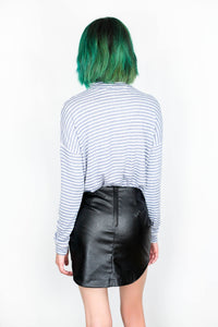ROUND HEM FAUX LEATHER SKIRT