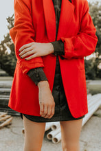 Load image into Gallery viewer, RED BLAZER BLACK COLLAR