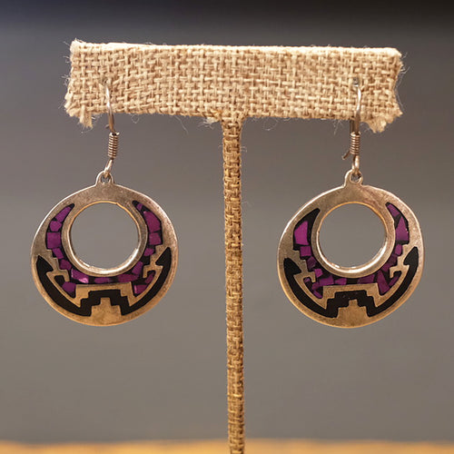Round Sugilite & Onyx Earrings