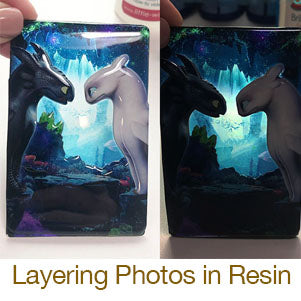 layering photos in resin dragons nightlight