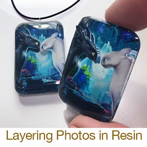 layering resin domed up casting dragons pendants