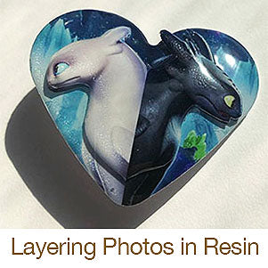 layering photos in resin dragons pin