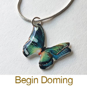 beginning resin jewelry making doming butterfly