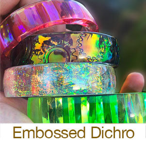 resin jewelry making casting bangle bracelets with embossed dichro films