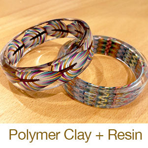 resin jewelry making bangle bracelets with polymer clay cast in molds