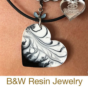 resin casting black and white jewelry