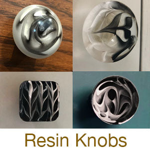 resin casting black and white knobs pulls