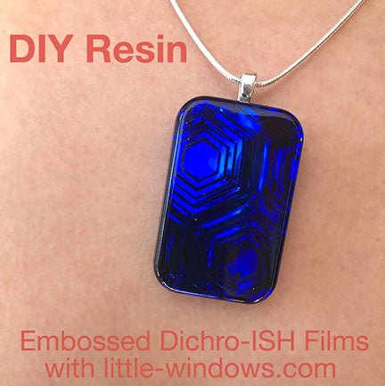 resin jewelry cast necklace embossed dichro film hex blue rectangle