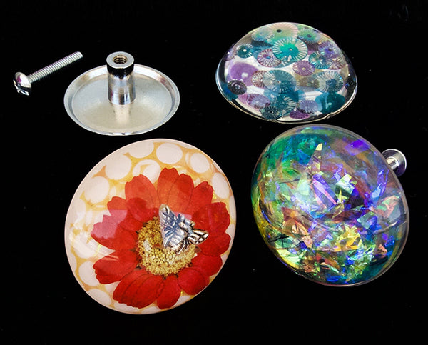 resin crafting cast cabochon dried flowers knob pull