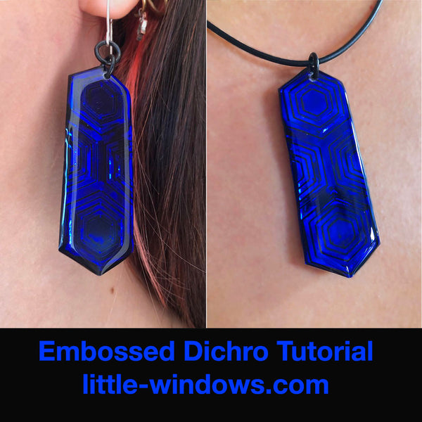 resin crafting jewelry making embossed dichro jewelry color shift hex earrings necklace