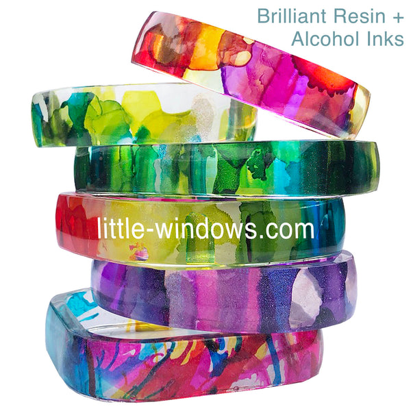 resin casting alcohol inks bangle bracelets