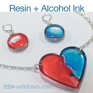 resin casting alcohol inks jewelry making earring necklace