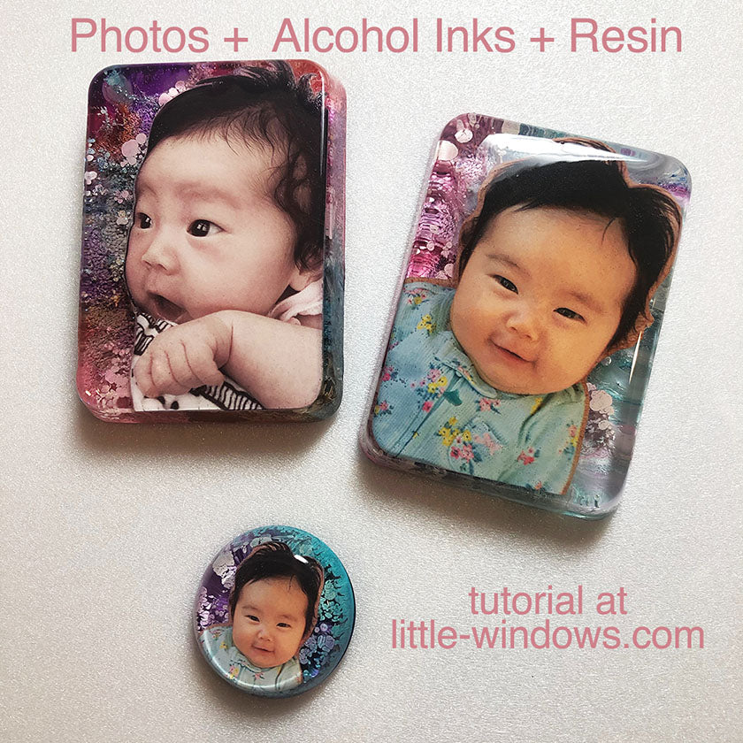 alcohol inks in epoxy resin with photos colorant keepsakes