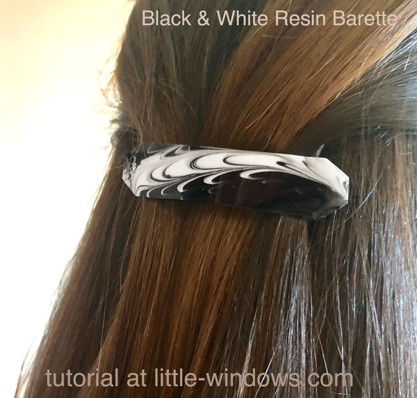 resin craft jewelry black white barette art resin