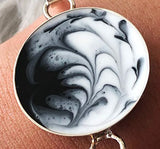 resin craft jewelry black white bezel love art resin marbled