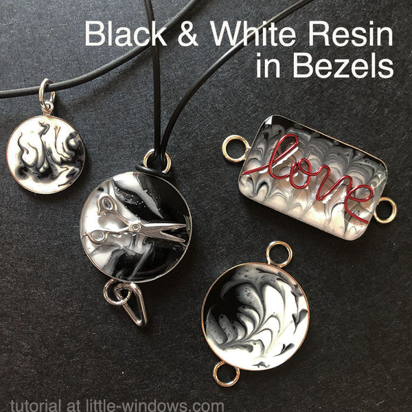 resin craft jewelry black white bezel art resin marbled