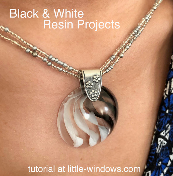 Resin Crafting Cabochon Necklace Black and White
