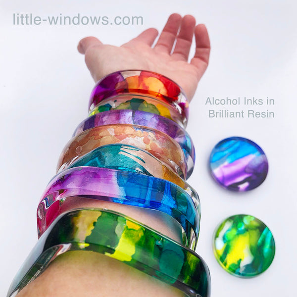 resin casting little windows alcohol inks bangle bracelets