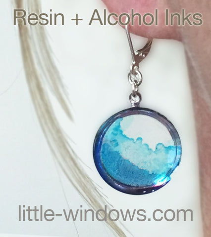 resin casting alcohol inks blue waves earrings